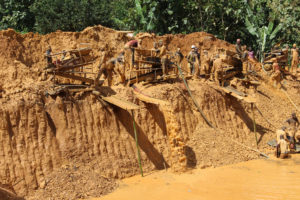Gold mining in operation