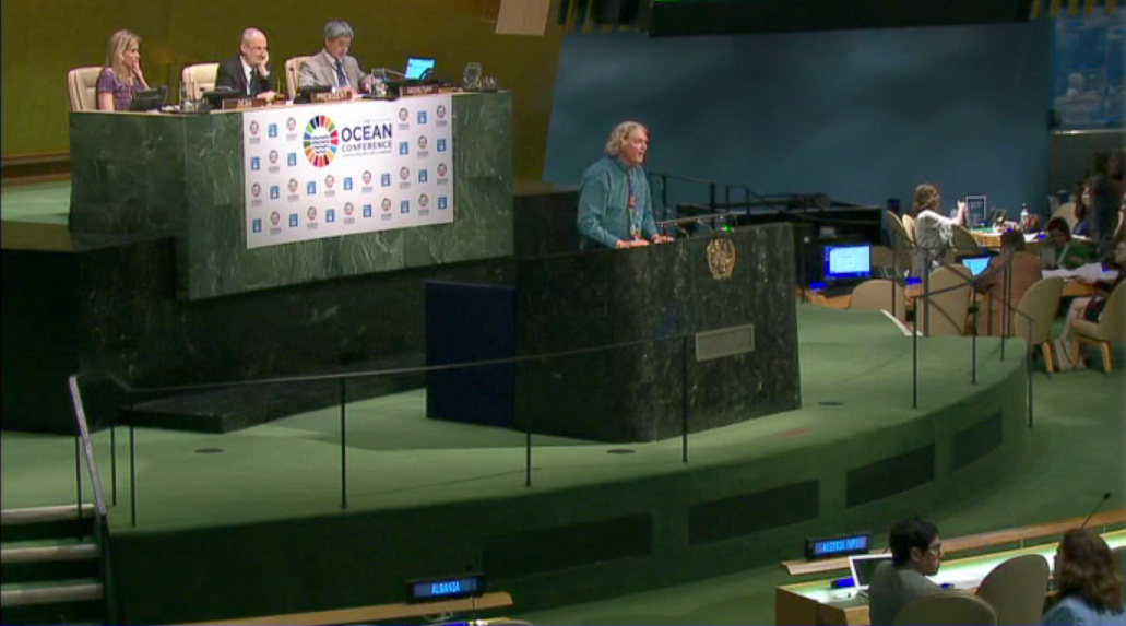 Dr Bob Sluka speaking at the United Nations' The Ocean Conference, June 2017