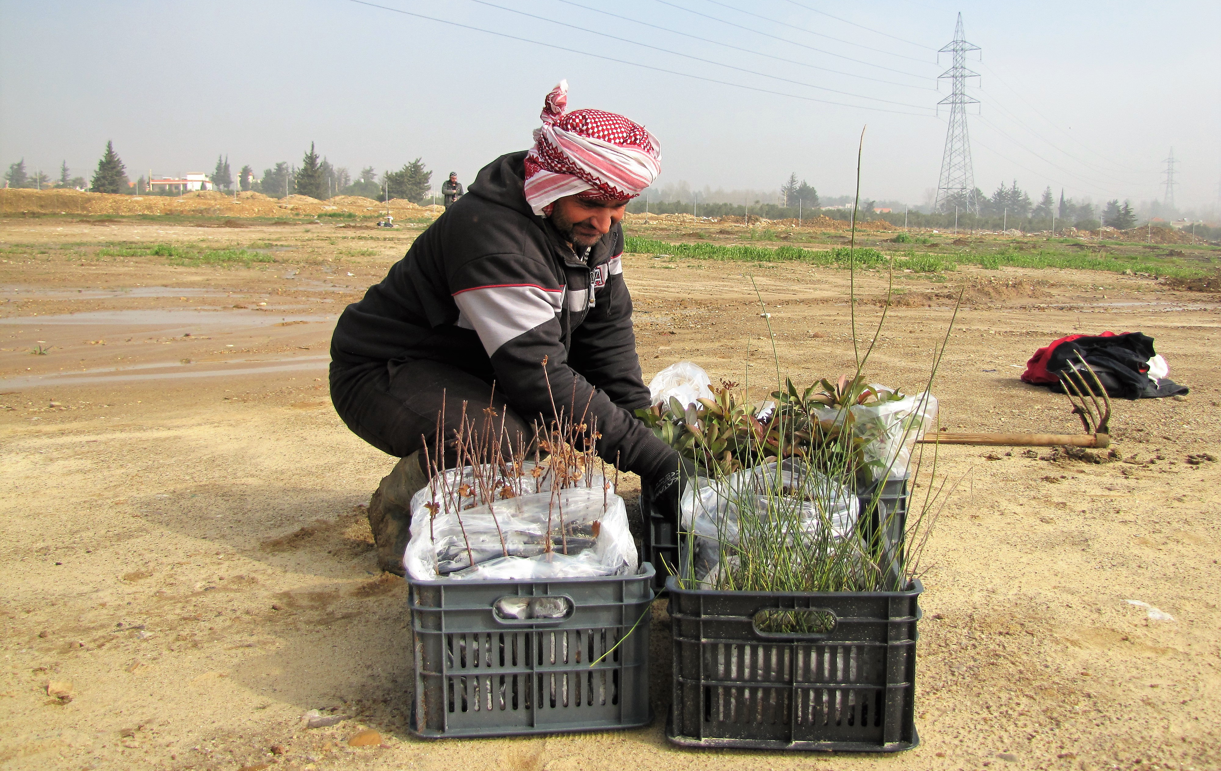 Árboles indígenas de una ONG local estan siendo plantados en el sitio del proyecto en Mekse (Martin Bernhard)