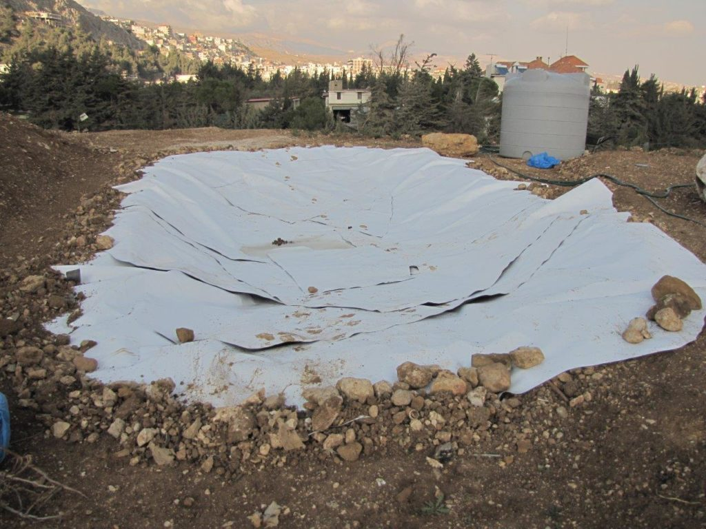 The new pond, six by ten metres, has already been dug and lined. (A Rocha Lebanon)